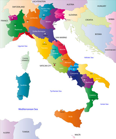 Italy regions and capital cities map